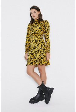 Yellow High Neck Floral Smock Dress