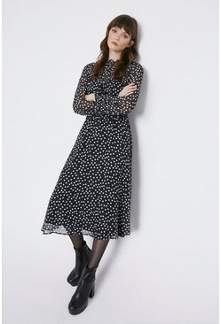 Black Soft Frill Neck Spot Midi Dress