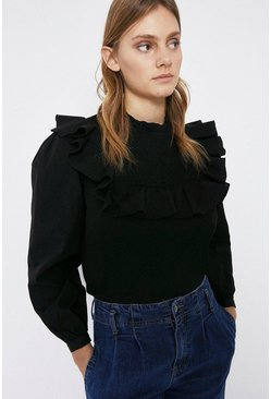 Black Smock Ruffle Detail Poplin Top
