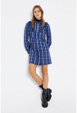 Blue Ruffle Detail Check Shirt Dress