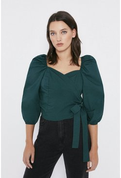 Green Puff Sleeve Wrap Detail Top