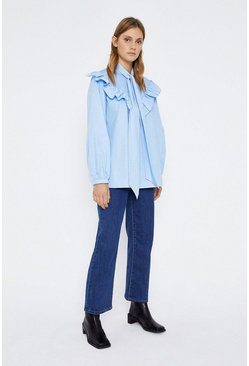 Pale blue Poplin Smock Tie Neck Top