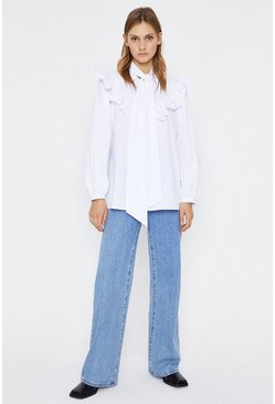 White Poplin Smock Tie Neck Top