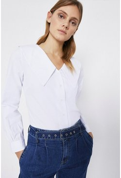 Ivory Poplin Collar Detail Blouse