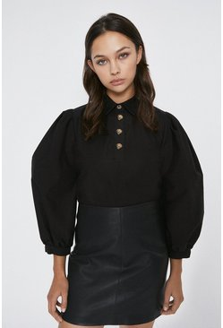 Black Button Detail Puff Sleeve Top