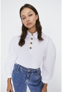 Ivory Button Detail Puff Sleeve Top