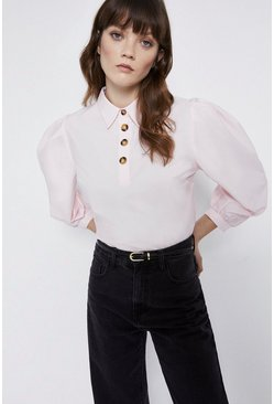 Pale pink Button Detail Puff Sleeve Top