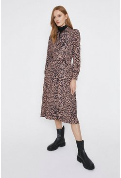 Leopard Animal Print Midi Shirt Dress
