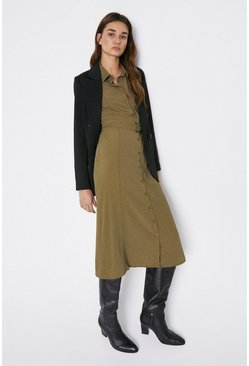Olive Soft Belt Pocket Detail Midi Shirt Dress