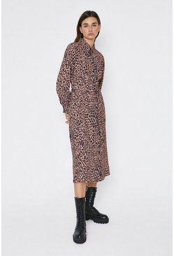 Leopard Belted Animal Midi Shirt Dress