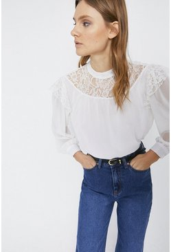 Ivory Lace Insert Ruffle Detail Top