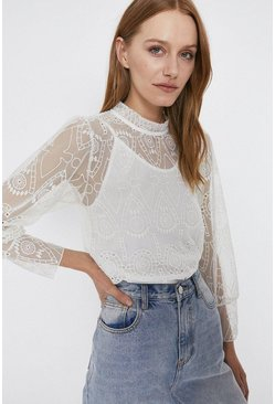 Ivory High Neck Cut Work Top
