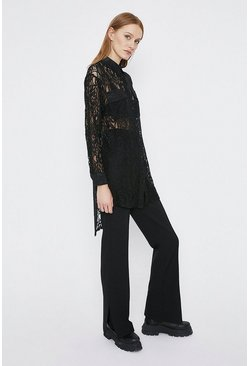 Black All Over Lace Long Shirt