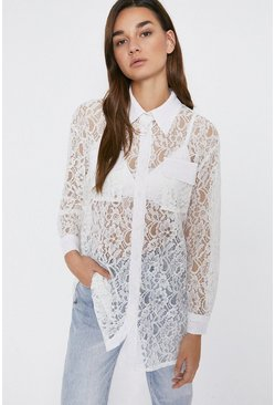Ivory All Over Lace Long Shirt