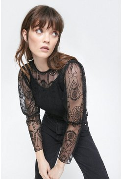 Black All Over Cut Work Top