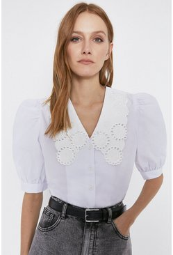 White Embroidered Collar Puff Sleeve Top