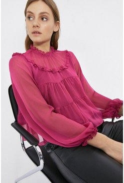Pink Crinkle Chiffon Tiered Top
