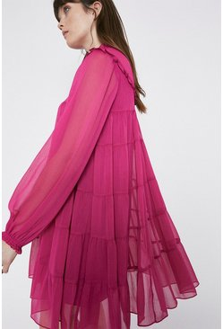 Pink Crinkle Chiffon Tiered Midi Dress