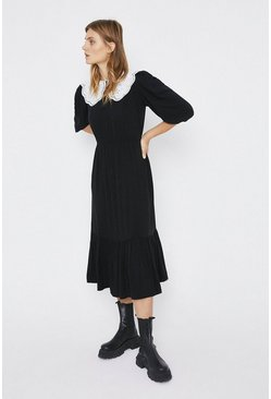 Black Collar Detail Midi Dress