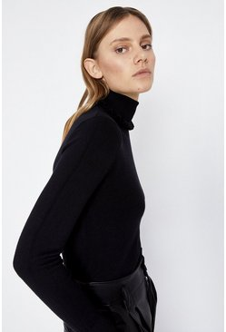 Black Ruffle Roll Neck Jumper