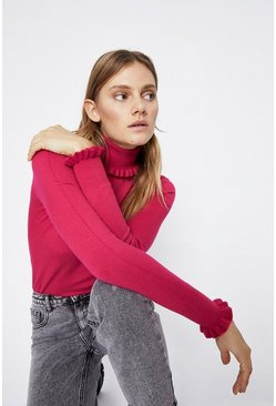 Bright pink Ruffle Roll Neck Jumper