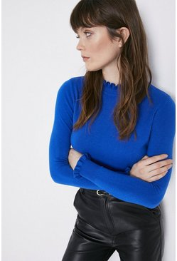 Blue Ruffle High Neck Jumper