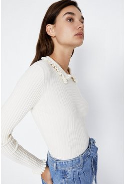 Cream Ruffle Collar Jumper