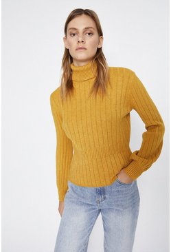 Ochre Ribbed Waist Detail Jumper