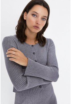 Grey Knitted Ribbed Scoop Neck Cardigan