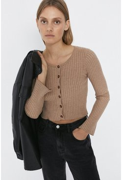 Oatmeal Knitted Ribbed Scoop Neck Cardigan