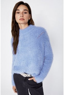 Blue Fluffy Slouchy Jumper