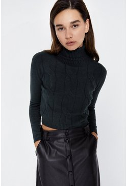 Dark green Cable Detail Cropped Roll Neck Jumper
