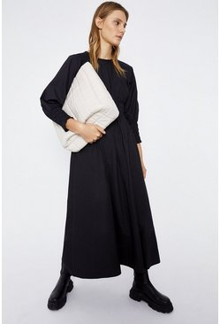 Black Shirred Waist Midi Dress