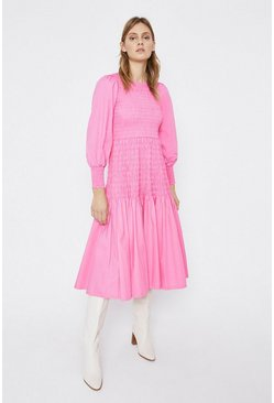 Pink Shirred Body Midi Dress