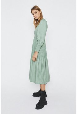 Sage Shirred Body Midi Dress