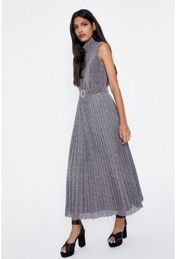 Silver Metallic Pleated Belted Dress