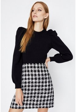 Black Tweed Pelmet Skirt