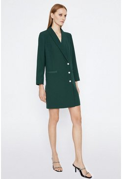 Green Relaxed Tuxedo Dress