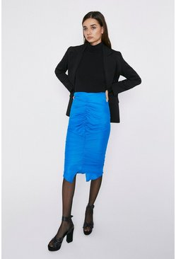 Cobalt Ruched Detail Midi Skirt
