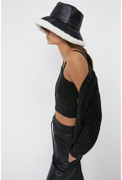 Black Cable Knit Crop Top And Cardigan Set