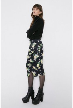 Multi Floral Ruched Detail Midi Skirt