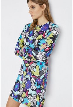 Multi Floral Power Shoulder Tabard Dress