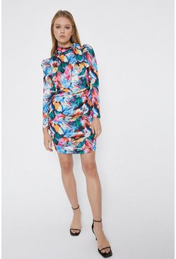 Multi Brush Print Ruched Detail Mini Dress