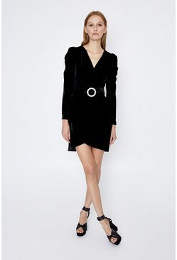 Black Velvet Buckle Detail Wrap Dress