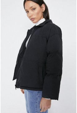 Black Zip Front Funnel Neck Padded Jacket