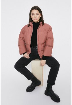 Rose Zip Front Funnel Neck Padded Jacket