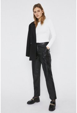 Black Faux Leather Straight Leg Trouser