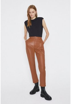 Tan Faux Leather Straight Leg Trouser