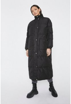 Black Maxi Funnel Neck Padded Coat