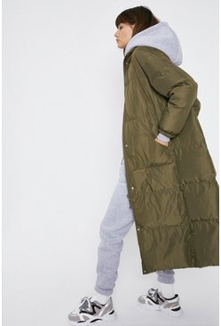Khaki Maxi Funnel Neck Padded Coat